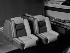 Remaking and recovering back to back boat seats, using marine grade vinyl.